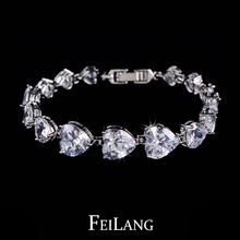 2014 New Different Size Love Gift White Gold Plated Heart Shape AAA+ Swiss CZ Diamond Bracelets (FSBP005)(China (Mainland))
