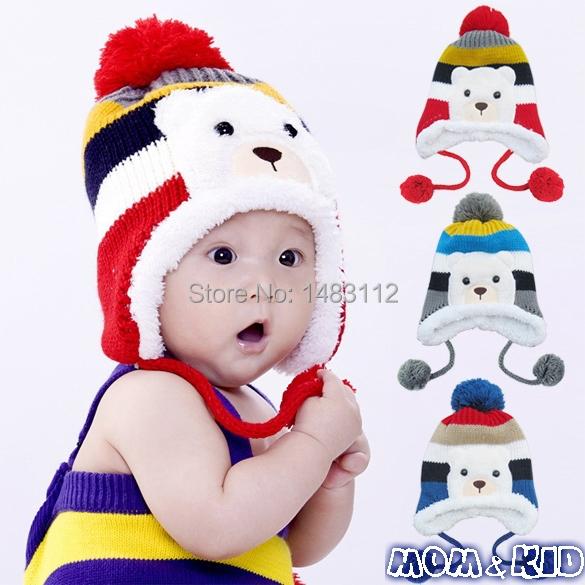 Hot!!Colorful Crochet New Born Baby Hat Stripe Pattern Cartoon Bear Design Thicken Kids Winter Caps Baby Warm Hats H18569QQ(China (Mainland))