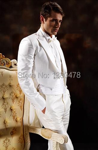 Custom Made White Tailcoat Groom Tuxedos Peak Lapel Best Man Groomsman Men Wedding Suits Bridegroom (Jacket+Pants+Tie+Girdle)