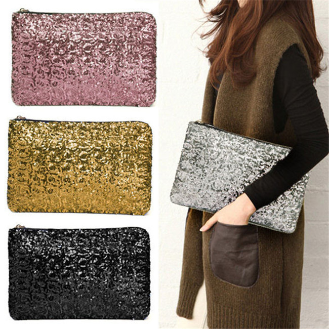 Famous brands women bag Women Clutch Dazzling Sequins Glitter Sparkling Handbag Evening Bag