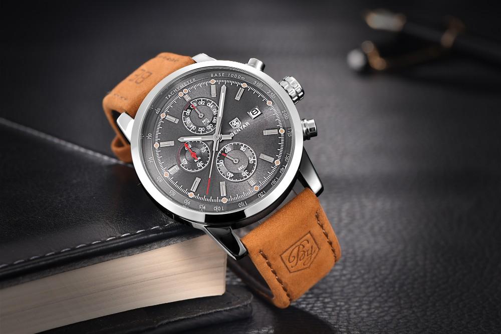 Benyar mode chronograph sport herrenuhren top-marke luxus quarzuhr reloj hombre 2016 uhr männliche stunden relogio masculino