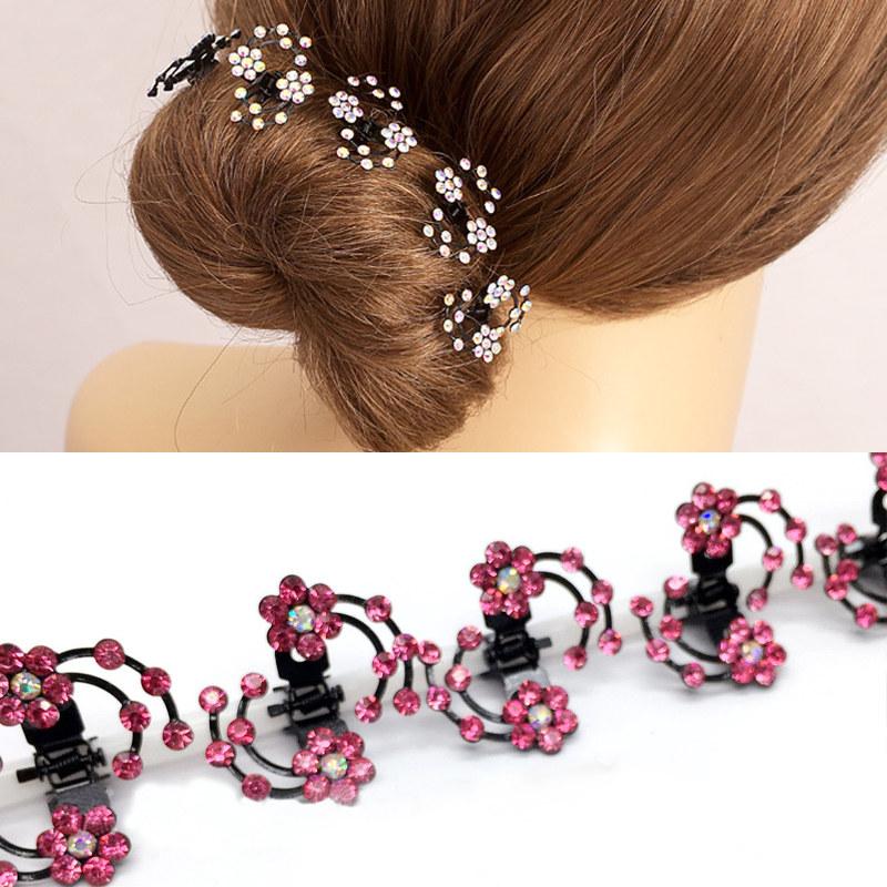 Hot Women 6 Pcs/Set Elegant Chic Rhinestone Flower Hair Clips Headwear(China (Mainland))