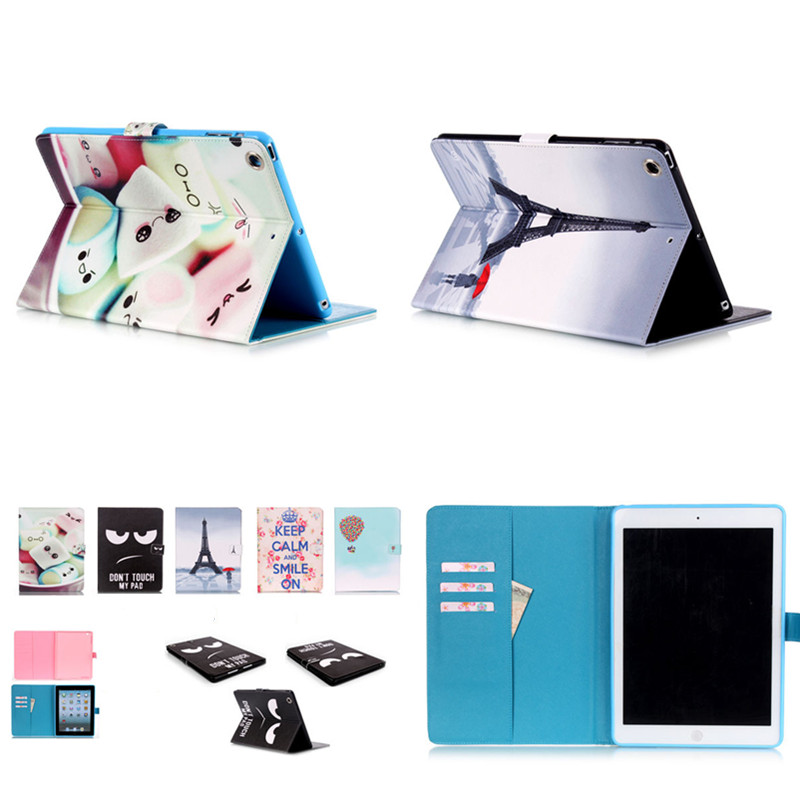 Wholesale YB  Cute PU Leather Flip Case for Apple iPad air Tablet  Case Stand Cover Card Holder Protective For Ipad air1 ipad5<br>