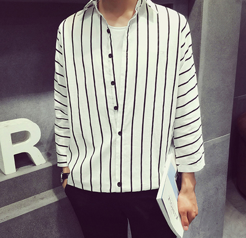 2016 spring new mens vertical striped long-sleeved loose shirt menswear simple  1526263139Одежда и ак�е��уары<br><br><br>Aliexpress