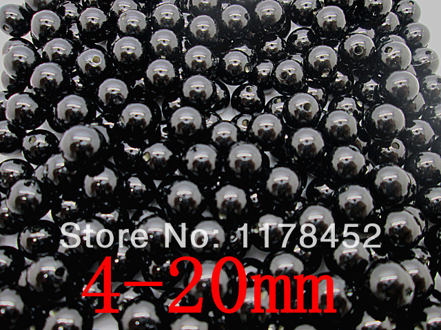Wholesale ABS Black Color Pearl Imitation Round Spacer Beads 4/6/8/10/12/14/16/18/20mm Fashion Jewelry Findings DIY Making