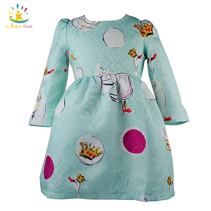 New Designer Kids Clothes Long Sleeve Blue Animal Print Girl Dress Baby Girl Clothes Autumn Children Clothing 2 Colors For 2-8Y(China (Mainland))