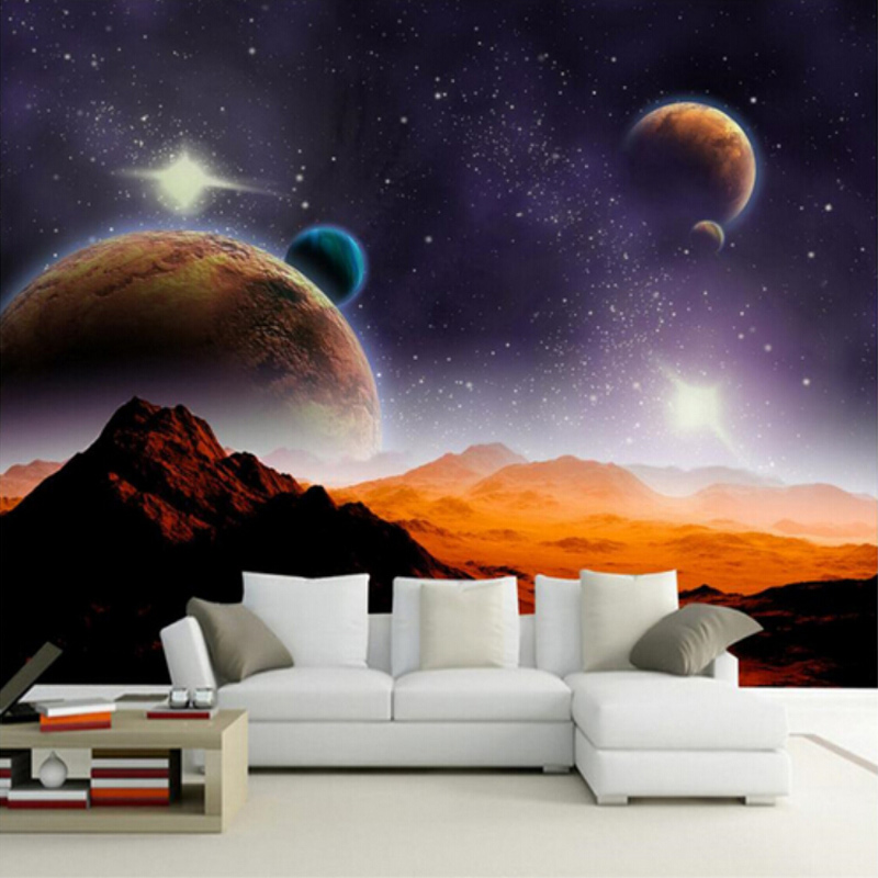 Customize Personality 3D Mural Wallpaper Modern-style Solar System Planet Earth/Moon/Mars Living Room Sofa Background Wall Paper