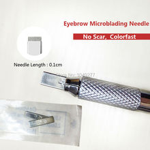 Depth Meter 0.1cm Eyebrow Microblading Needle Professional Stainless Eyebrow Tattoo Needles For Embroidery New Arrival(China (Mainland))