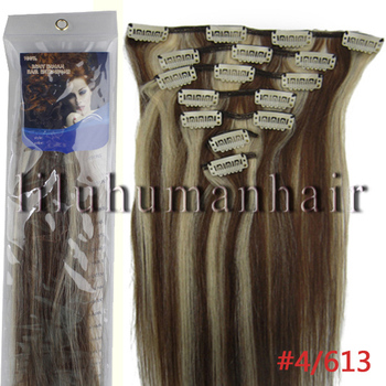 "Grade AAA+16""18""20""22""Silky Straight weave beauty Clip In/On Hair Extension Straight 7pcs/set #4/613medium brown/light blonde"