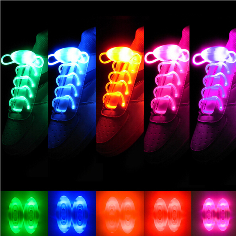 1 Pair Led Light Luminous Shoelace Fashion Glowing Shoe laces Flashing Colored Neon Shoestrings chaussures led Party Laces(China (Mainland))