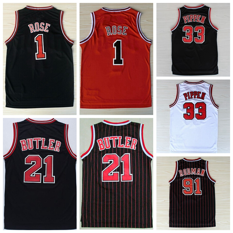Men #1 Derrick Rose Jersey,100% Stitched Wholesale Cheap High Quality #21 Jimmy Butler Jersey,Black Red Stripe Basketball Jersey(China (Mainland))
