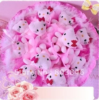new style romantic Hello Kitty bouquet for Wedding,Valentine, Birthday Gift 1set/lot Free shipping
