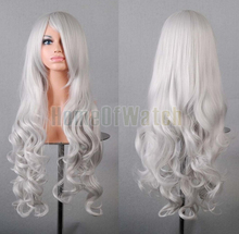 32 Inches Long Silver Cosplay Wigs Ladies' Curly Wigs 80cm (NWG0CP60817-SI2)(China (Mainland))