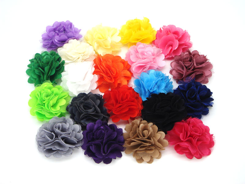 "120pcs/lot 2"" 20 Colors Mini Satin Mesh Hair Flower For Baby Girls Hair Accessories Artificial Fabric Flowers For Headbands(China (Mainland))"