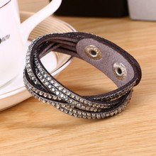 2016 New Fashion Jewelry 6 Layer Leather Bracelet! Charm Bracelet!Factory Discount Prices,19 Color Choices pulseiras(China (Mainland))