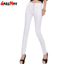 Women's Jeans 2016 korean femme femininas white denim high waist Pencil skinny pants Jeans trousers Clothing For Women Female