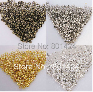 58-252 2500pcs 2mm silver gold bronze rhodium crimp beads copper jewely finding crimp end beads making for jewelry