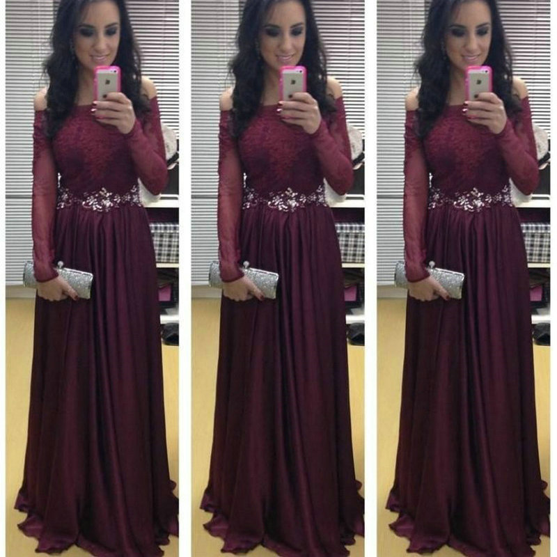 Off The Shoulder Maroon Prom Dresses 2015 New Arrival Long
