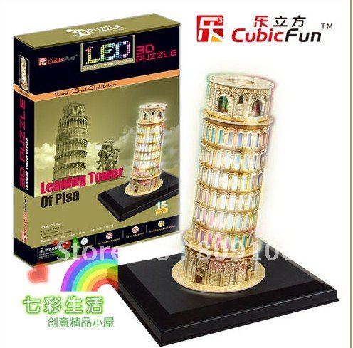 Wholesale ,Free shipping,Toys/Cubic three-dimensional Paper Model/ Italy Leaning Tower of Pisa /Lantern LED PUZZLE 3D/L502h(China (Mainland))