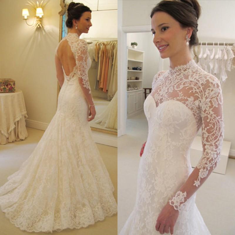 Vestidos De Novia 2016 Long Sleeve Lace Wedding Dress Fish