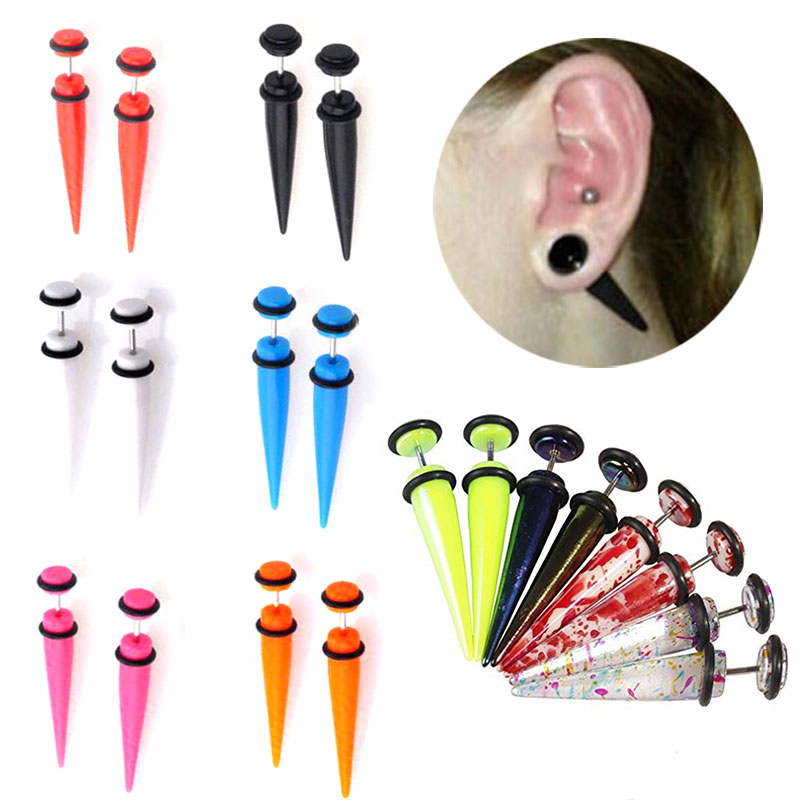 4pair Acrylic Ear Tapers Stretcher Spike Ear Expander Gauge Kit Plug Tunnel Set Body Piercing Jewelry(China (Mainland))