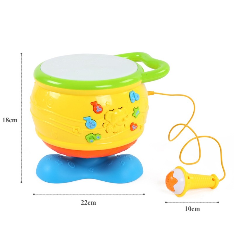 Musical Drum Set Children Toy Colorful Light Educational Baby Kids Roll Instruments Beiens Kit Gift Set New Enclosed Microphone(China (Mainland))