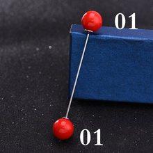 Ganda Kepala Mutiara Merah Logam Bros Pin Non-Slip Tetap Sederhana Pakaian Cardigan Klip Syal Gesper Perhiasan Pria Wanita aksesoris(China)
