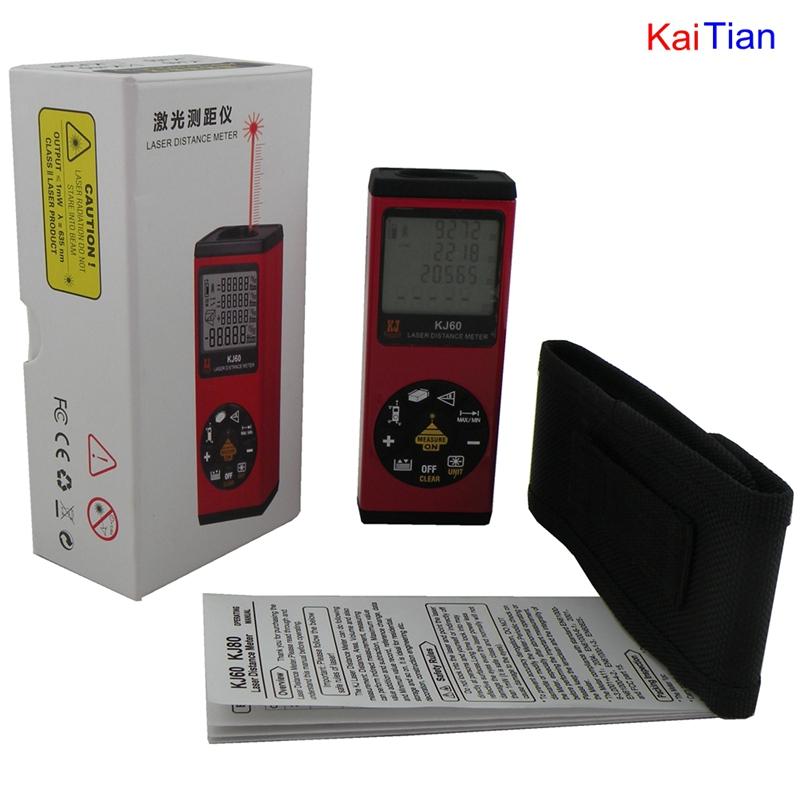 60M (196.8ft) Laser Distance Meter  with bubble level Rangefinder Range finder Tape measure wholesale  Free shipping