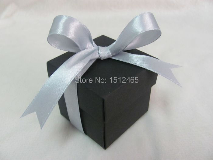 Free shipping,New style 100pcs/lot Black 2pc 5x5x5cm Paper Bomboniere Wedding Favor Boxes Candy gift boxes WB12(China (Mainland))