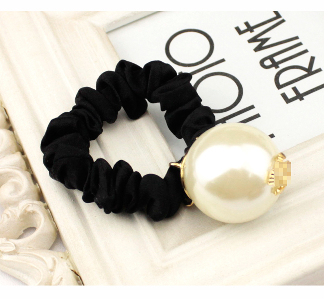 New Korea Black Hair Ring for Women Girl Fashion Big White Pearl Hair Tie Head Ornaments Accessory(China (Mainland))