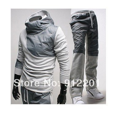 2013 New Men's Track Suit Leisure Suits Korean Slim Hooded Coat + Sports pants