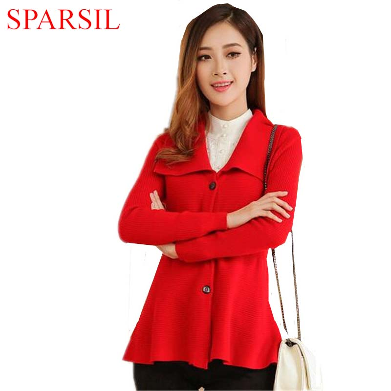 Sparsil Women's Autumn Cashmere Blend Knitted Cardigan Spring Female Turn-down Collar Skirt Style Knitwear Sweater(China (Mainland))