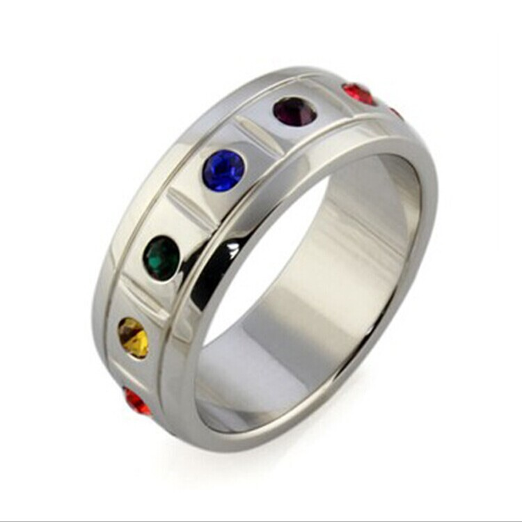 stainless steel rainbow pride wedding rings jewelry