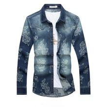 2016 Plus Size 5XL Mens Floral Printing Denim Shirt Fashion Long Sleeve Shirt Camisa Masculina P4105
