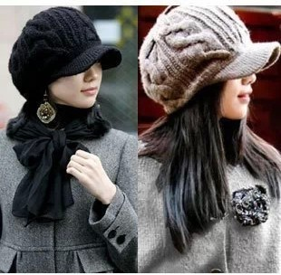 New Arrival Peaked Cap Women Hat Winter Caps Knitted Hats For Woman Twist Lady's Headwear Delicate Cloth Accessory