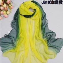 Women Spring and Autumn warm soft 100% Silk feeling Blend Ombre Oblong georgette Scarf designer shawl hot sale(China (Mainland))