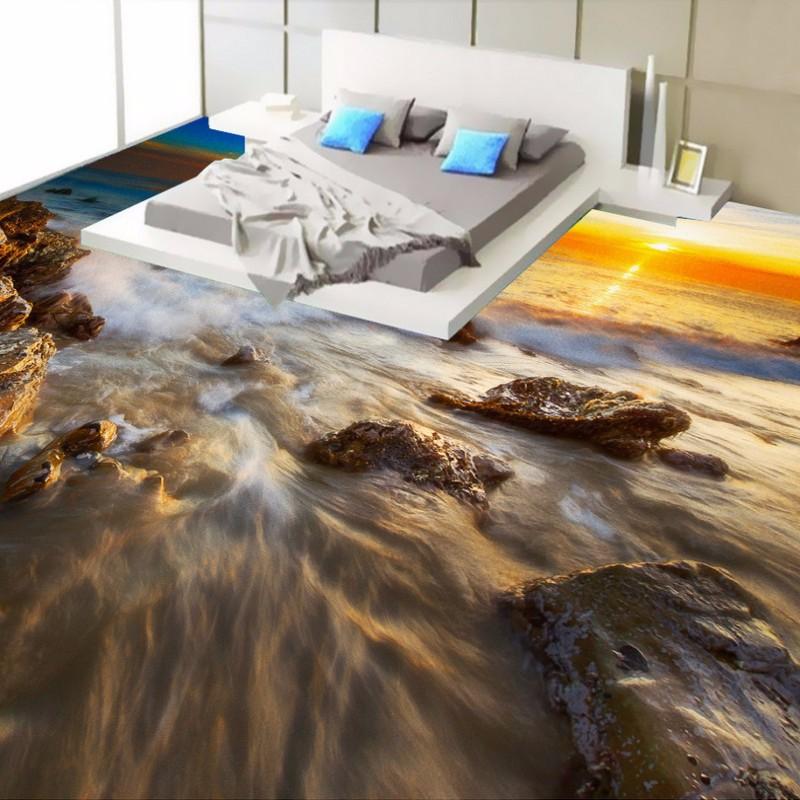 Free Shipping Custom Picture Floor Paste Seaside Sunrise Waves Floor  Wallpaper Non Slip Hallway PVC Floor Mural   Us395