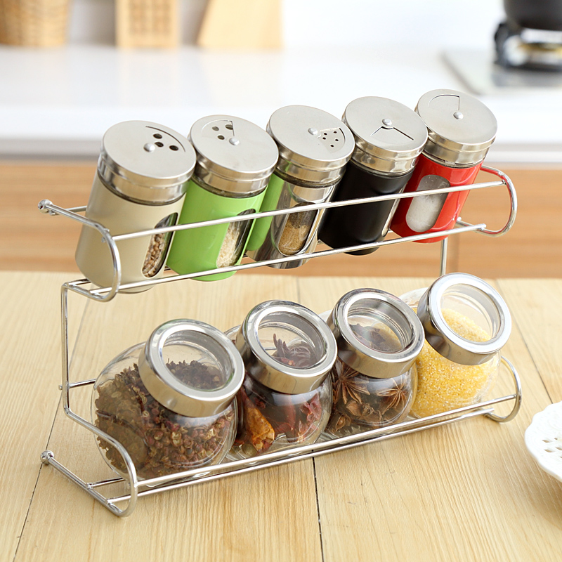 Simple life 9 Piece/Set seasoning box mason jar condiment box food container kitchen organizer sugar jar spice for storage box(China (Mainland))