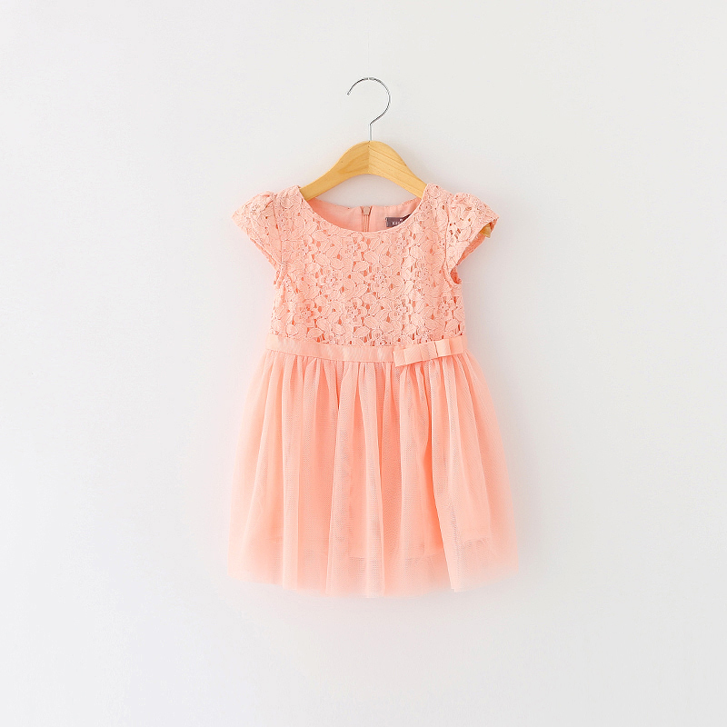 Girls Summer Dress Lace Solid Hollow Out Kids 2015 Sleeveless Children Fashion Voile Zipper Style Clothing With Bow 6psc/ LOT<br><br>Aliexpress