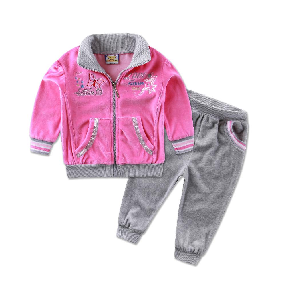 2016 new style Children's clothing casual sports set baby girls winter clothes 2pcs long sleeve fashion infant kids jacket pants(China (Mainland))