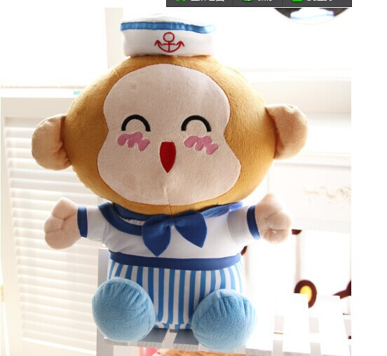 large 50cm lovely monkey plush toy navy suit cloth design monkey doll throw pillow,birthday gift w5691