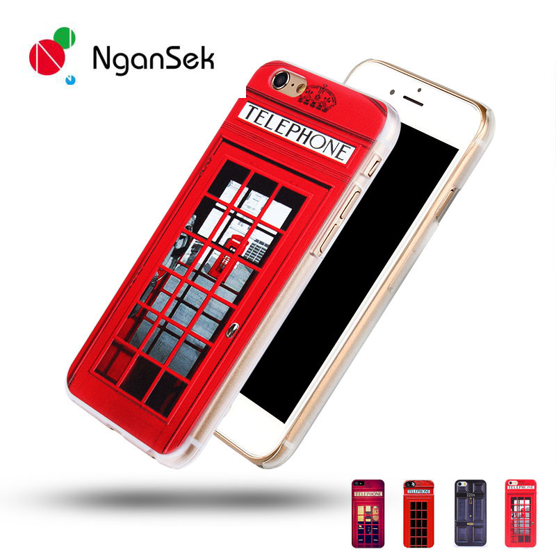 NganSek London Old Fashion Telephone Booth for iPhone SE 4s 5s 6 6s Plus Hard Phone Case Sherlock Holmes in Door 221B Back cover(China (Mainland))