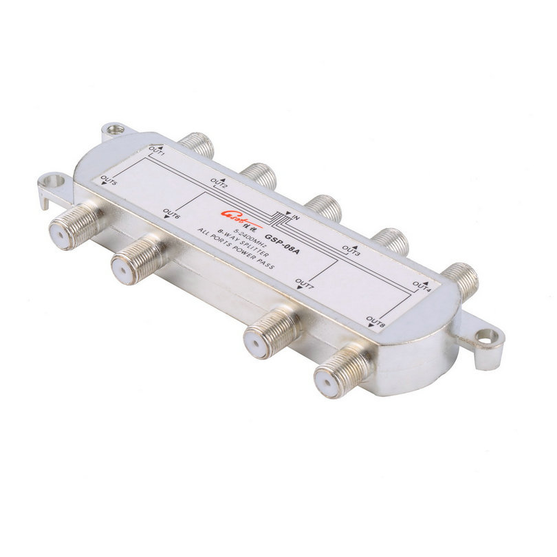 High Quality GSP-08A 8-Way Signal Satellite Splitter TV Antenna RF Coaxial Cable Splitter(China (Mainland))