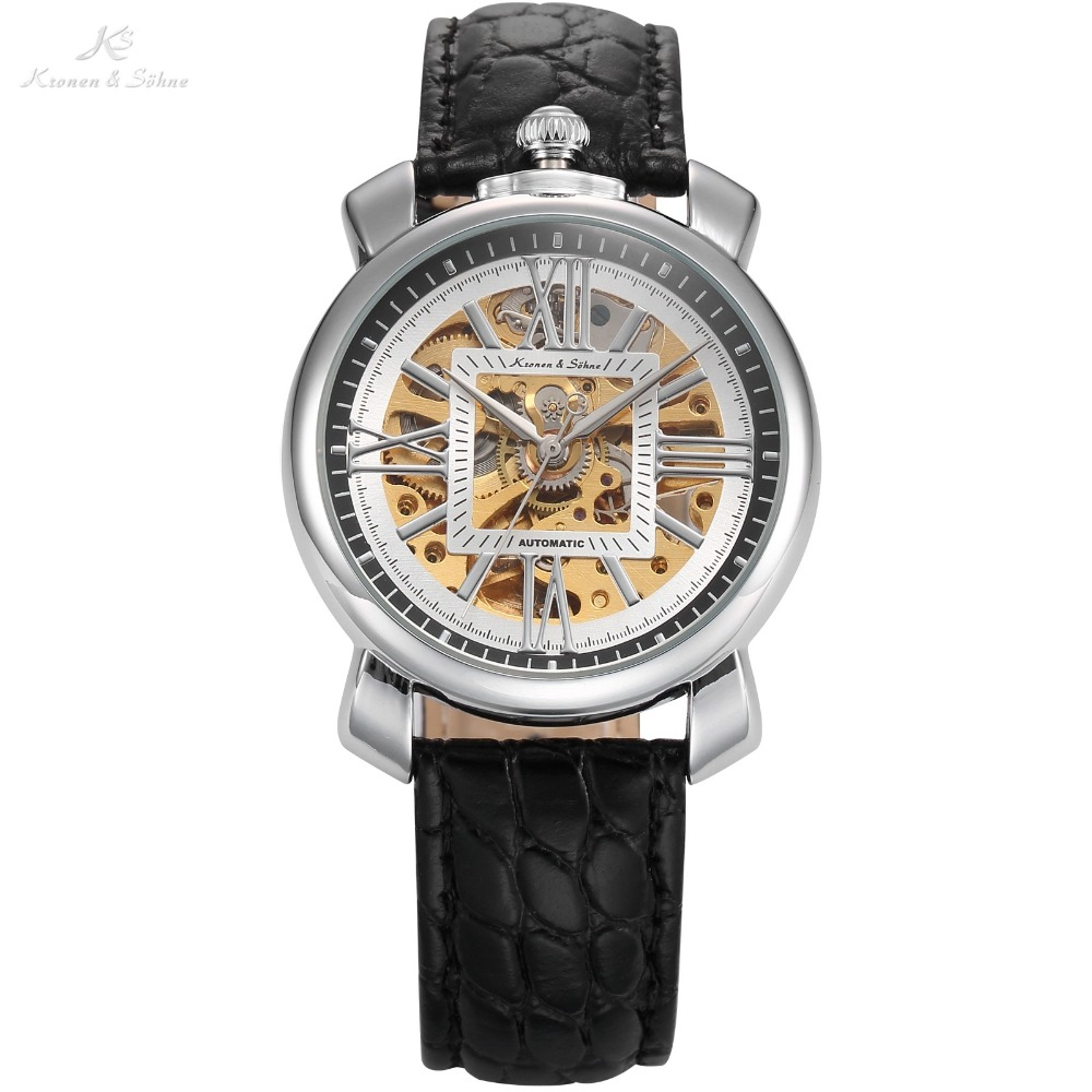KS Luxury Brand Skeleton Automatic Mechanical Watches Cabochon Crown Black Leather Strap Clock Male Self Wind Watch Gift / KS292(China (Mainland))