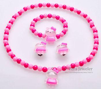 Sweet Girls Kids Necklace+Bracelet+Earrings 3PC Jewelry Set Hello Kitty in Pink Dress Contrast Colors 4 Colors Wholesale 24sets