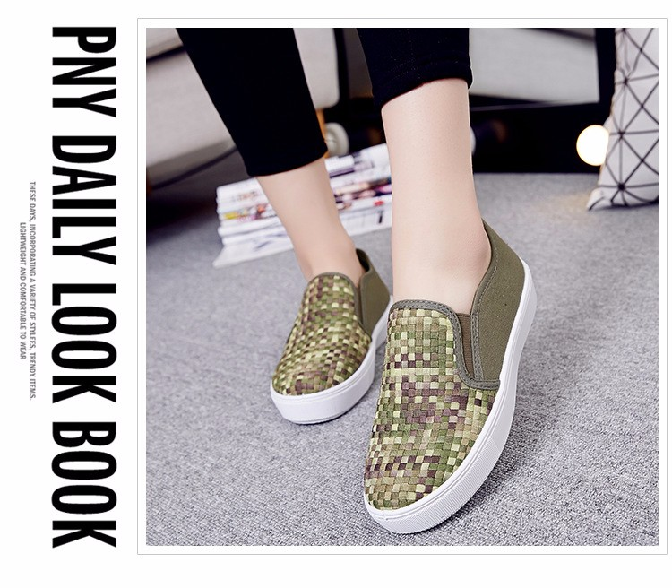 2016 Spring Fall Women Shoes Flat Shoes Woven Style Blue Khaki Loafers Shoes a Pedal Lazy Single Shoes For Women  ZK3.5