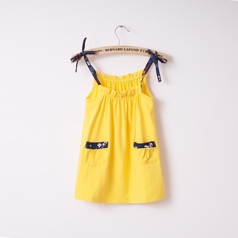 New! girls kids beach dress sleeveless baby girls bright yellow color dresses small girl's dress 2016 summer hot sale(China (Mainland))