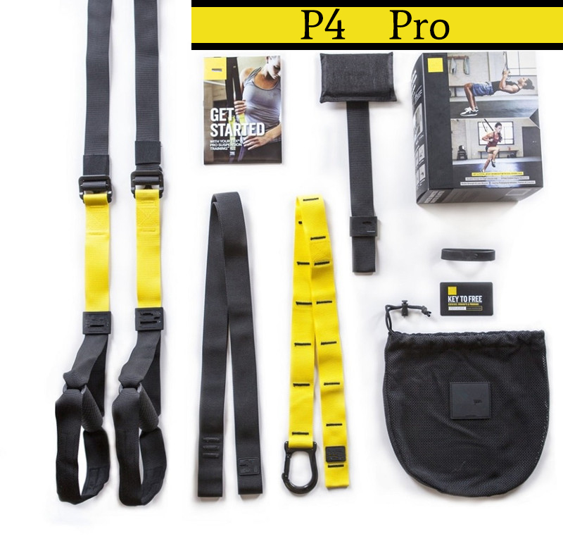TRX P4 Pro Suspension Trainer Fitness Bands Sport Belts Training Resistance Straps For Gym Body Weight With LOGO And BOX TRX