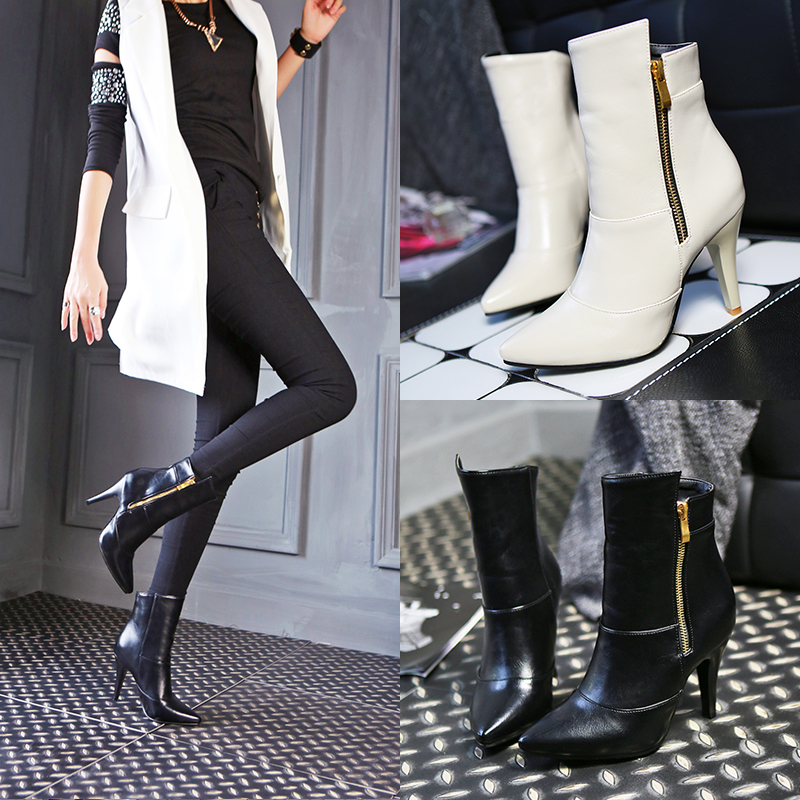 Plus size fashion autumn winter ankle boots women sexy pointed toe high heel zipper shoes