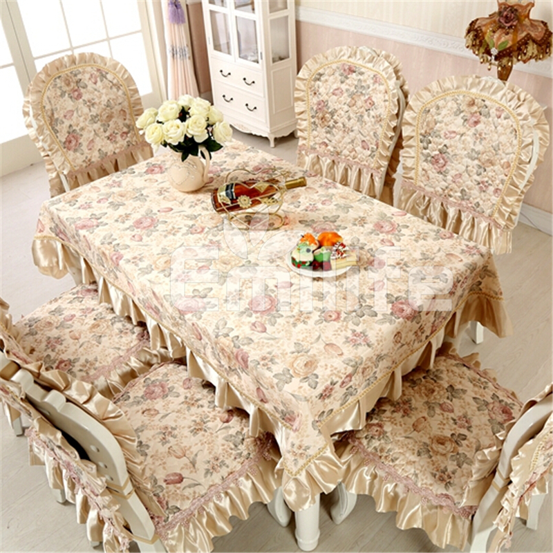 Stain Fabric Lace Jacquard Table Cloth Rectangular Printed Ding Kitchen Table Cover Chair Dress Decoration()